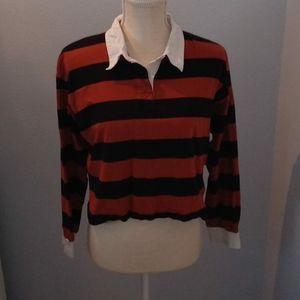 Long-sleeve striped crop top